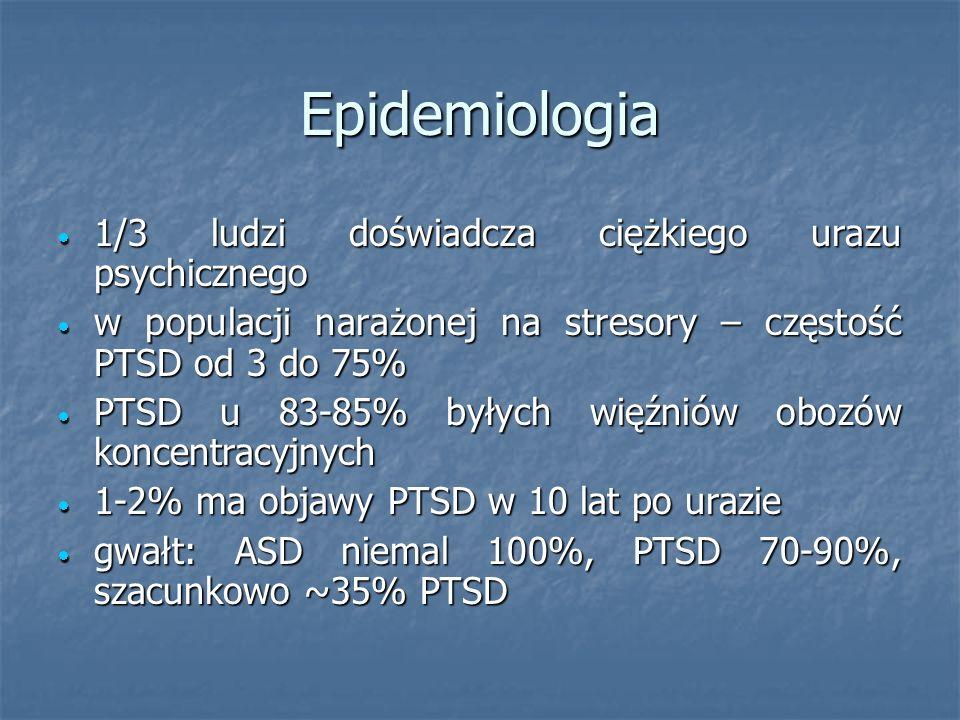 Epidemiologia 1/3 ludzi doświadcza ciężkiego urazu psychicznego 1/3 ludzi doświadcza ciężkiego urazu psychicznego w populacji narażonej na stresory –