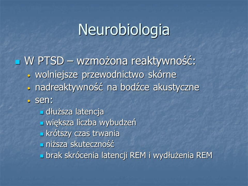 Neurobiologia W PTSD – wzmożona reaktywność: W PTSD – wzmożona reaktywność: wolniejsze przewodnictwo skórne wolniejsze przewodnictwo skórne nadreaktyw