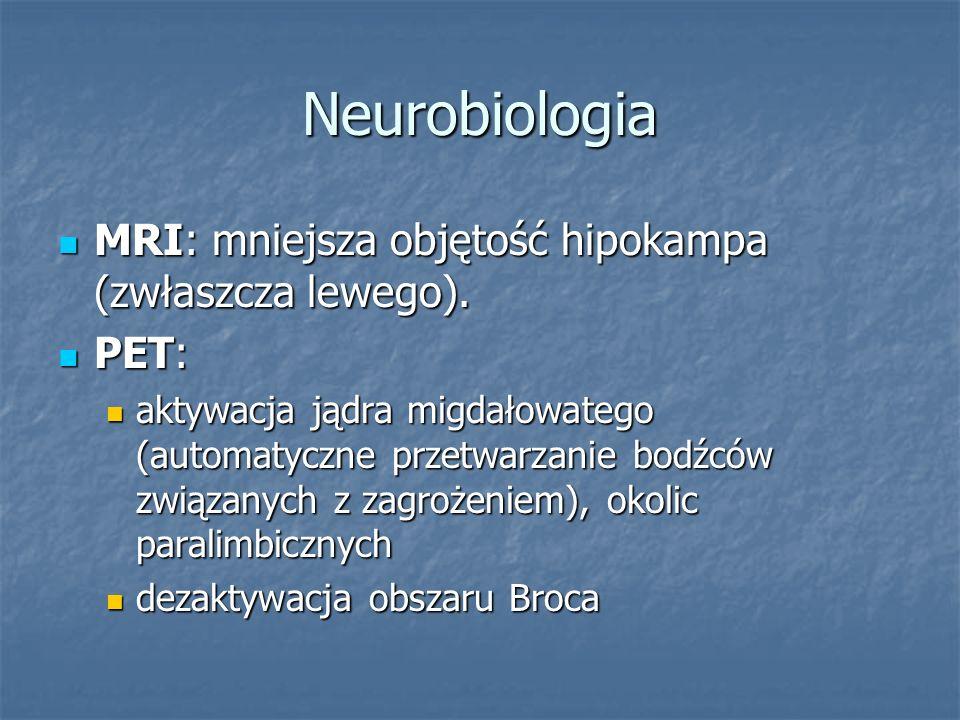 Neurobiologia MRI: mniejsza objętość hipokampa (zwłaszcza lewego). MRI: mniejsza objętość hipokampa (zwłaszcza lewego). PET: PET: aktywacja jądra migd