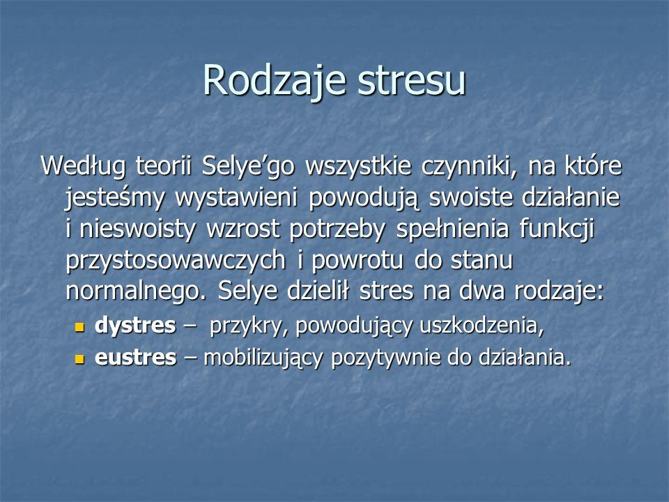 Rodzaje stresu Według teorii Selyego wszystkie czynniki, na które jesteśmy wystawieni powodują swoiste działanie i nieswoisty wzrost potrzeby spełnien