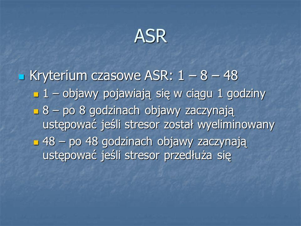 ASR Kryterium czasowe ASR: 1 – 8 – 48 Kryterium czasowe ASR: 1 – 8 – 48 1 – objawy pojawiają się w ciągu 1 godziny 1 – objawy pojawiają się w ciągu 1