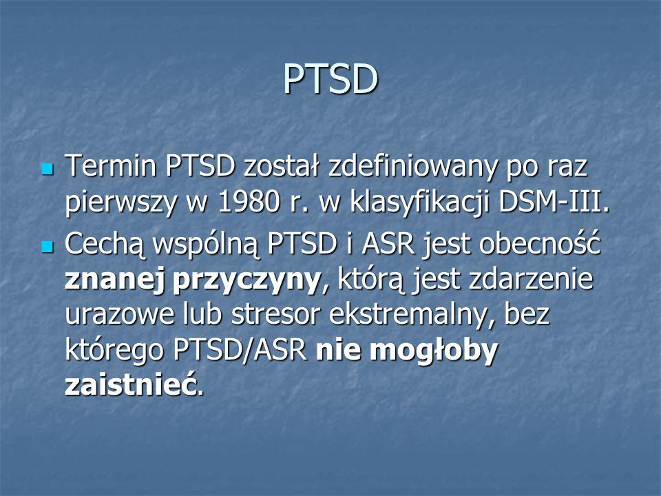 PTSD Termin PTSD został zdefiniowany po raz pierwszy w 1980 r. w klasyfikacji DSM-III. Termin PTSD został zdefiniowany po raz pierwszy w 1980 r. w kla
