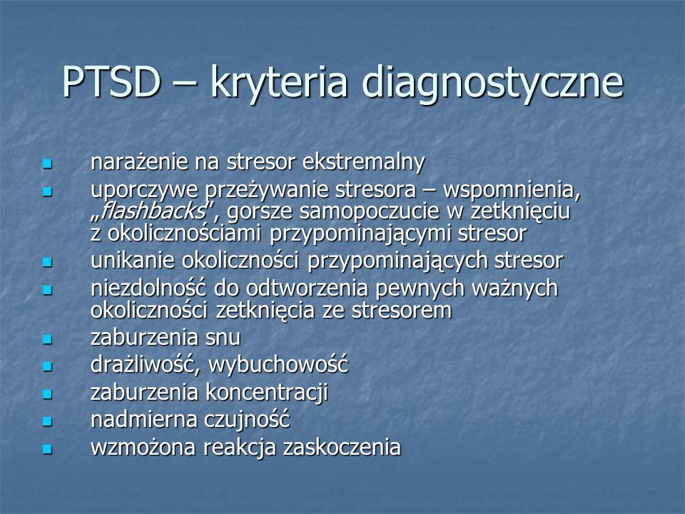 PTSD – kryteria diagnostyczne narażenie na stresor ekstremalny narażenie na stresor ekstremalny uporczywe przeżywanie stresora – wspomnienia,flashback