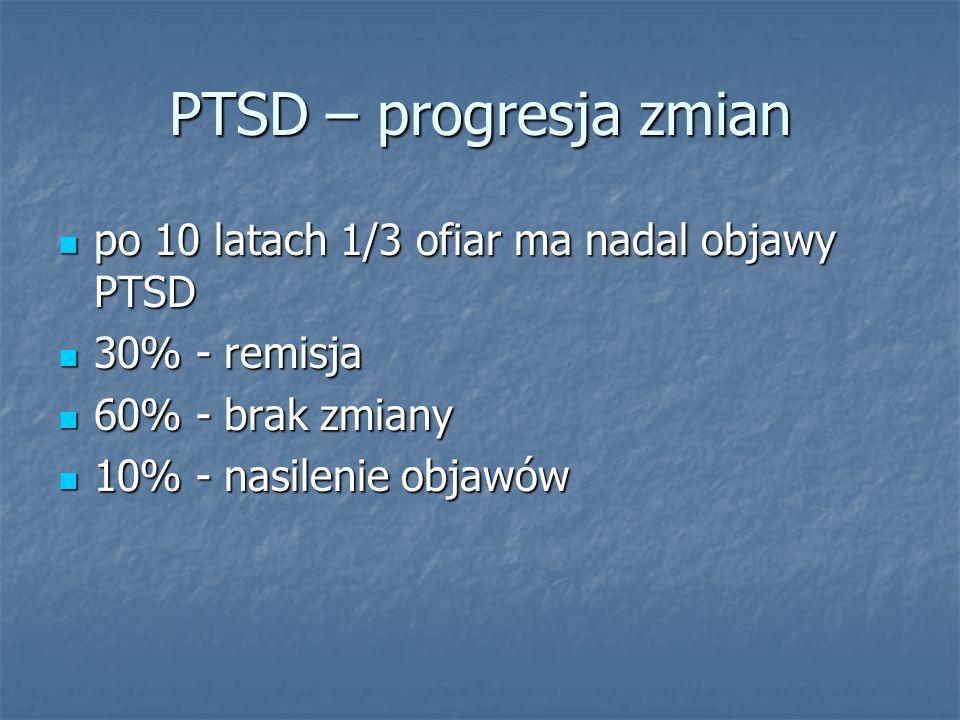 PTSD – progresja zmian po 10 latach 1/3 ofiar ma nadal objawy PTSD po 10 latach 1/3 ofiar ma nadal objawy PTSD 30% - remisja 30% - remisja 60% - brak