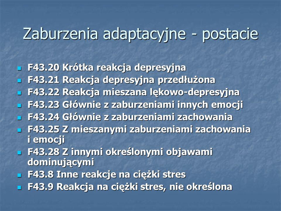 Zaburzenia adaptacyjne - postacie F43.20 Krótka reakcja depresyjna F43.20 Krótka reakcja depresyjna F43.21 Reakcja depresyjna przedłużona F43.21 Reakc