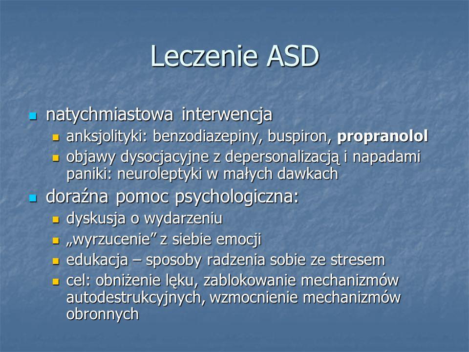 Leczenie ASD natychmiastowa interwencja natychmiastowa interwencja anksjolityki: benzodiazepiny, buspiron, propranolol anksjolityki: benzodiazepiny, b