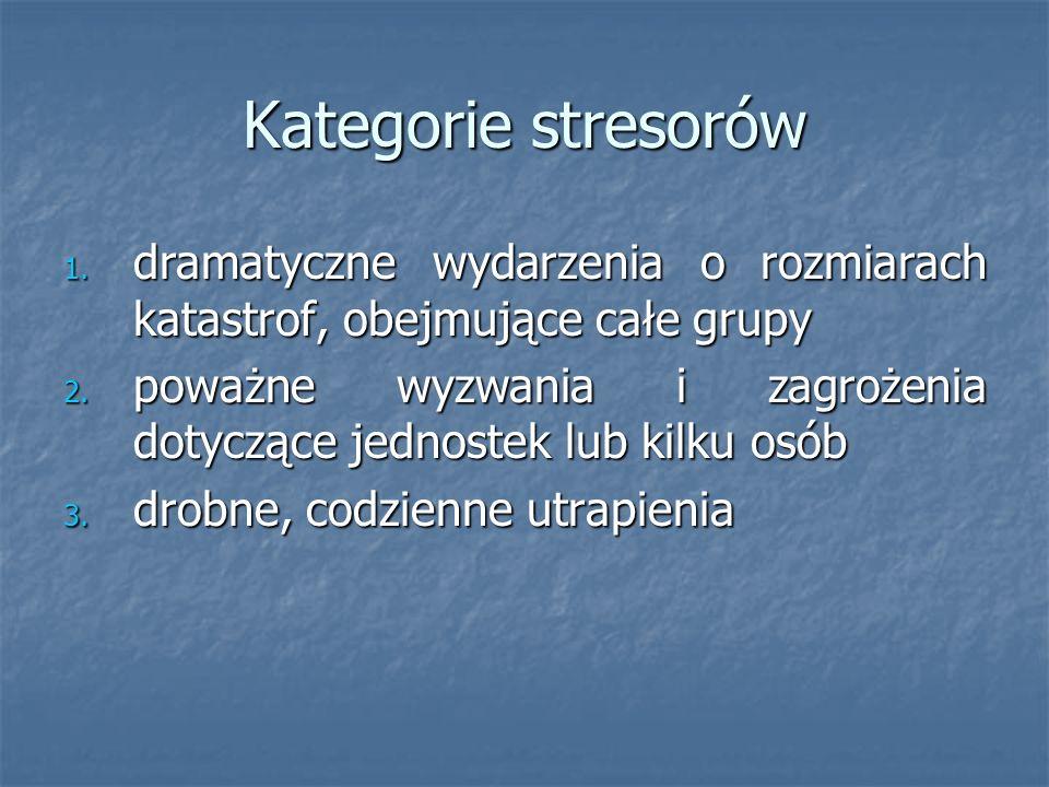 Kategorie stresorów 1. dramatyczne wydarzenia o rozmiarach katastrof, obejmujące całe grupy 2. poważne wyzwania i zagrożenia dotyczące jednostek lub k