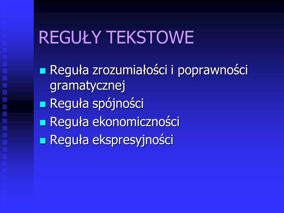 REGUŁY TEKSTOWE Reguła zrozumiałości i poprawności gramatycznej Reguła zrozumiałości i poprawności gramatycznej Reguła spójności Reguła spójności Regu