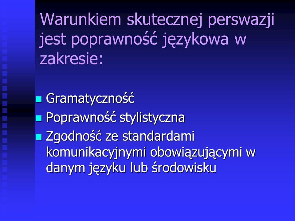 Warunkiem skutecznej perswazji jest poprawność językowa w zakresie: Gramatyczność Gramatyczność Poprawność stylistyczna Poprawność stylistyczna Zgodno