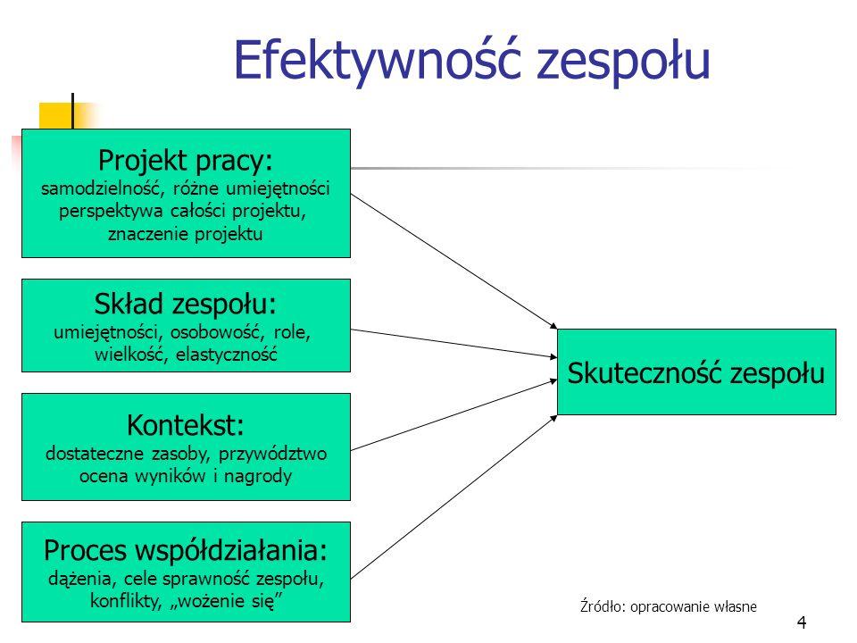 4 Efektywność zespołu Projekt pracy: samodzielność, różne umiejętności perspektywa całości projektu, znaczenie projektu Skład zespołu: umiejętności, o