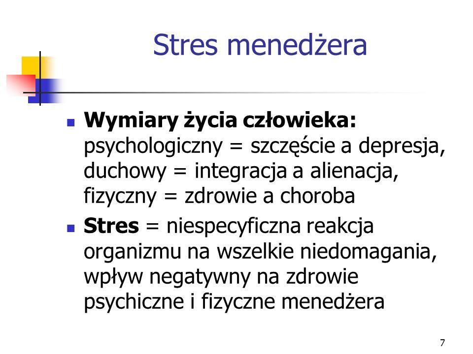 7 Stres menedżera Wymiary życia człowieka: psychologiczny = szczęście a depresja, duchowy = integracja a alienacja, fizyczny = zdrowie a choroba Stres