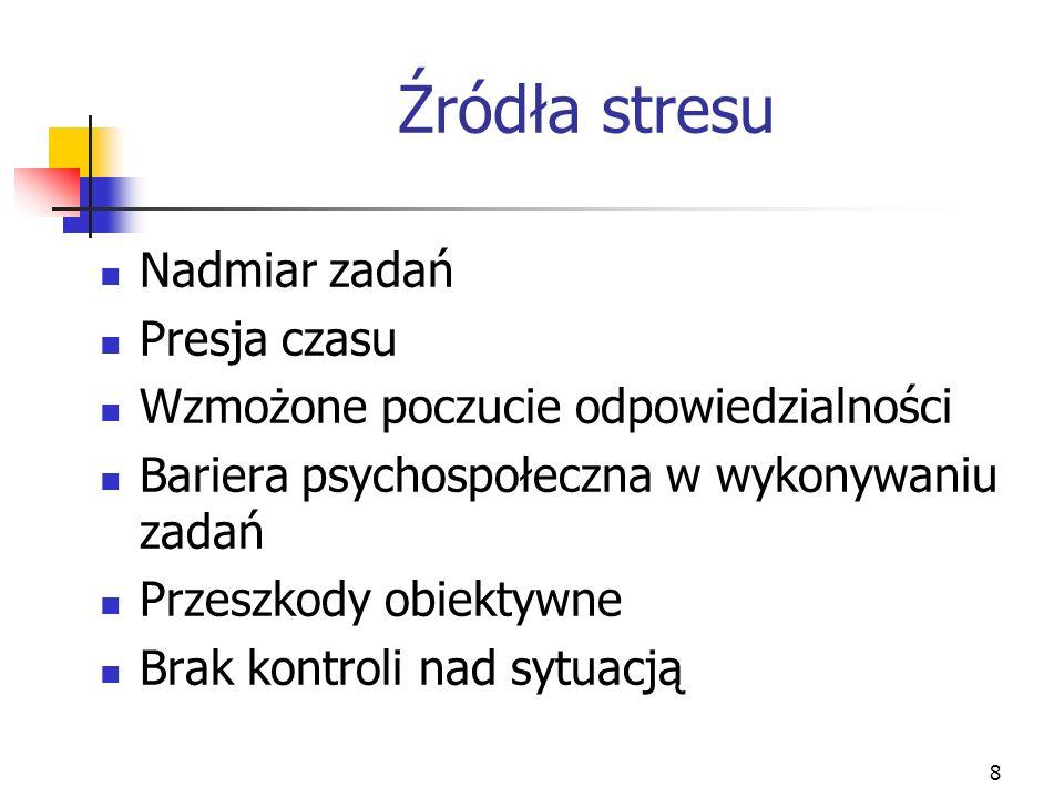8 Źródła stresu Nadmiar zadań Presja czasu Wzmożone poczucie odpowiedzialności Bariera psychospołeczna w wykonywaniu zadań Przeszkody obiektywne Brak