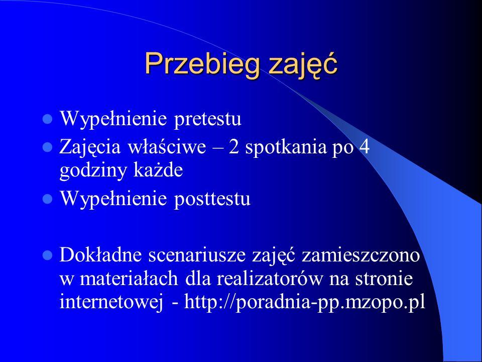 Przebieg zajęć Wypełnienie pretestu Zajęcia właściwe – 2 spotkania po 4 godziny każde Wypełnienie posttestu Dokładne scenariusze zajęć zamieszczono w materiałach dla realizatorów na stronie internetowej - http://poradnia-pp.mzopo.pl