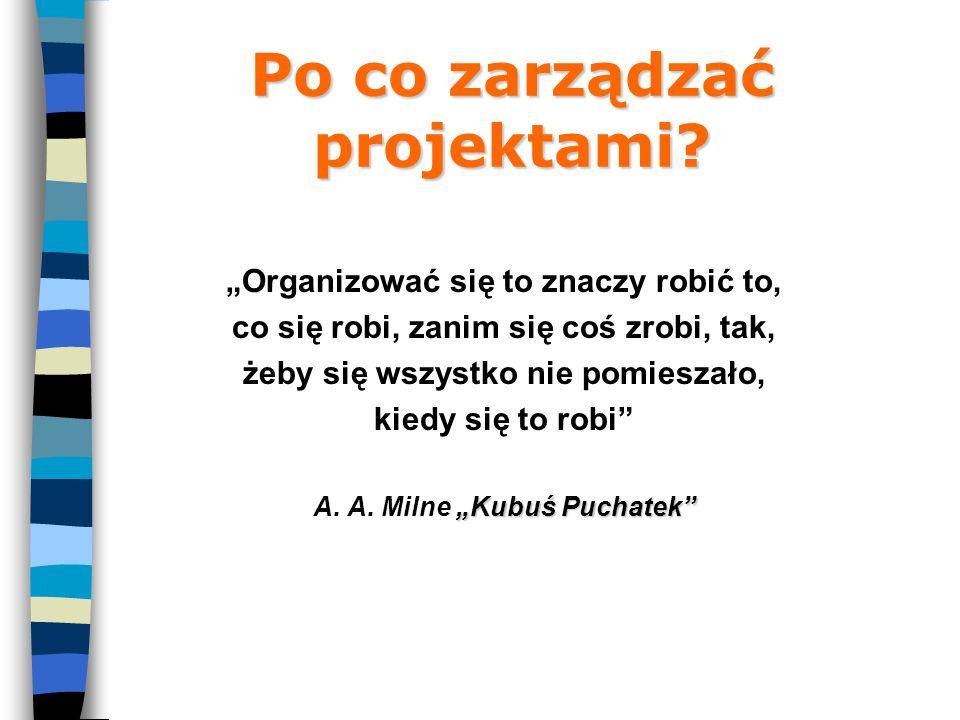 Zarys organizacji projektu Struktura organizacji projektu Plan komunikacji Zarządzanie komunikacją w projekcie