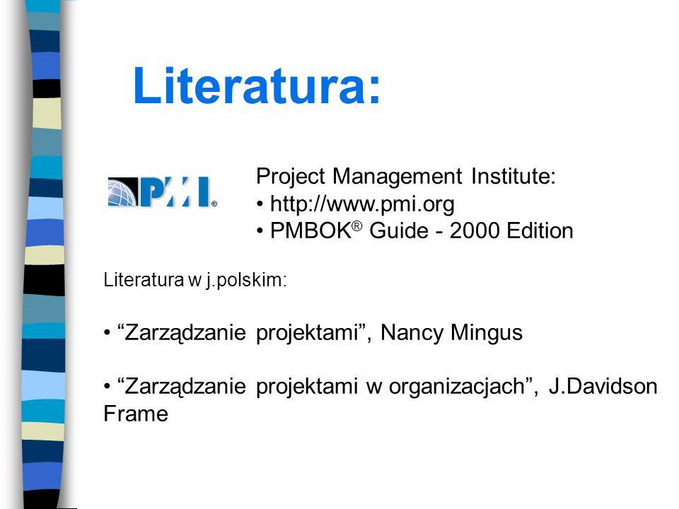 Literatura: Project Management Institute: http://www.pmi.org PMBOK ® Guide - 2000 Edition Literatura w j.polskim: Zarządzanie projektami, Nancy Mingus