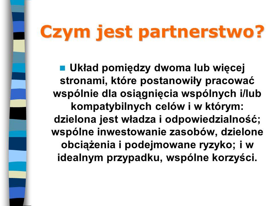 Czym jest partnerstwo? Układ pomiędzy dwoma lub więcej stronami, które postanowiły pracować wspólnie dla osiągnięcia wspólnych i/lub kompatybilnych ce