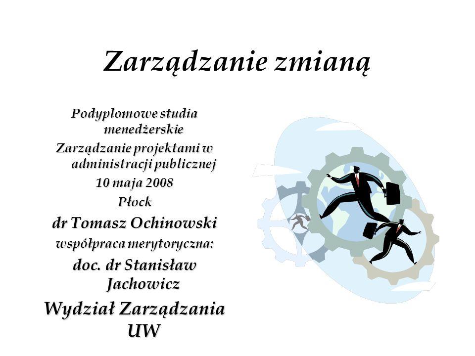 Zarządzanie zmianą Podyplomowe studia menedżerskie Zarządzanie projektami w administracji publicznej 10 maja 2008 Płock dr Tomasz Ochinowski współprac