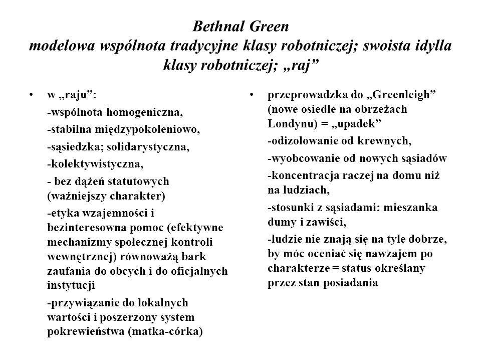 Bethnal Green modelowa wspólnota tradycyjne klasy robotniczej; swoista idylla klasy robotniczej; raj w raju: -wspólnota homogeniczna, -stabilna między