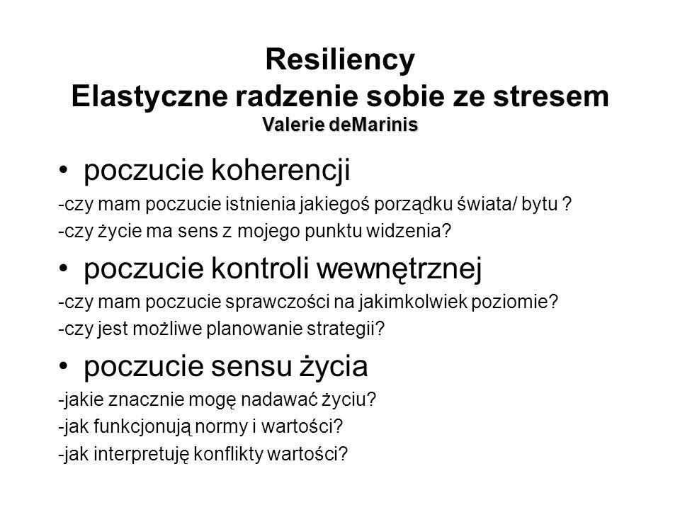 Valerie deMarinis Resiliency Elastyczne radzenie sobie ze stresem Valerie deMarinis poczucie koherencji -czy mam poczucie istnienia jakiegoś porządku