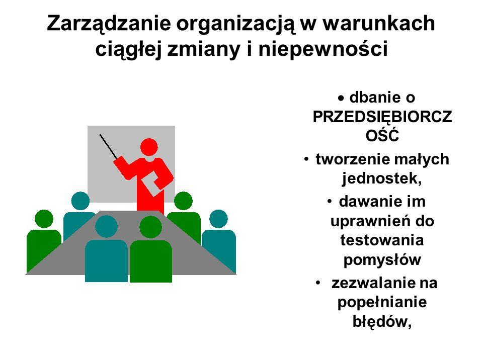 Zarządzanie organizacją w warunkach ciągłej zmiany i niepewności dbanie o PRZEDSIĘBIORCZ OŚĆ tworzenie małych jednostek, dawanie im uprawnień do testo