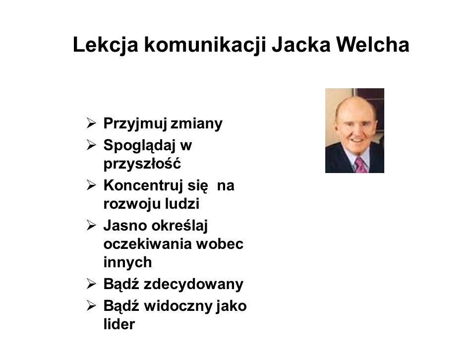 Lekcja komunikacji Jacka Welcha Przyjmuj zmiany Spoglądaj w przyszłość Koncentruj się na rozwoju ludzi Jasno określaj oczekiwania wobec innych Bądź zd