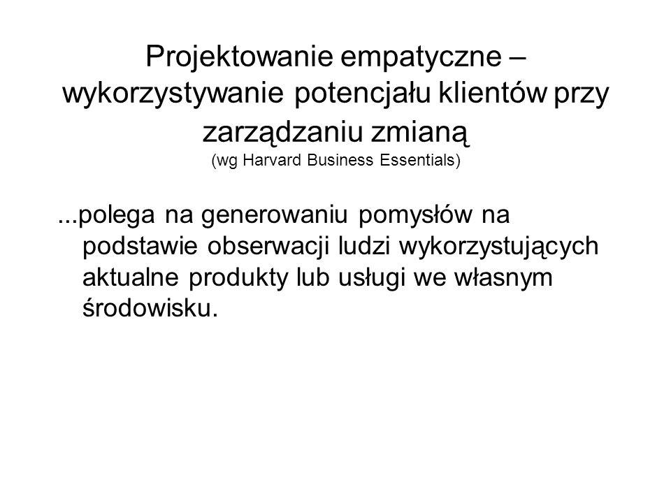 Projektowanie empatyczne – wykorzystywanie potencjału klientów przy zarządzaniu zmianą (wg Harvard Business Essentials)...polega na generowaniu pomysł