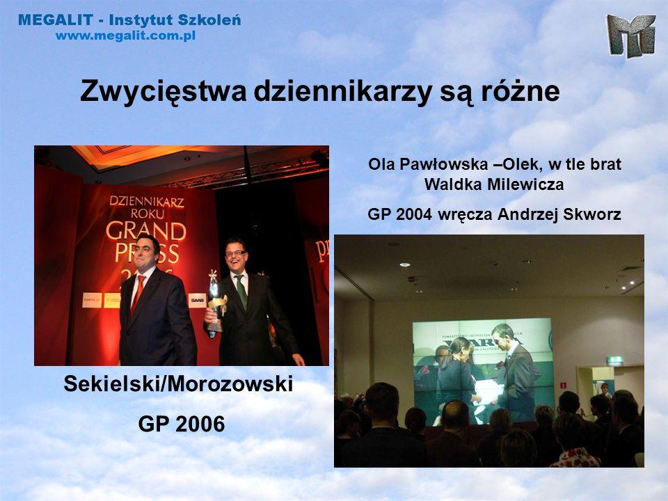 Zwycięstwa dziennikarzy są różne Sekielski/Morozowski GP 2006 Ola Pawłowska –Olek, w tle brat Waldka Milewicza GP 2004 wręcza Andrzej Skworz