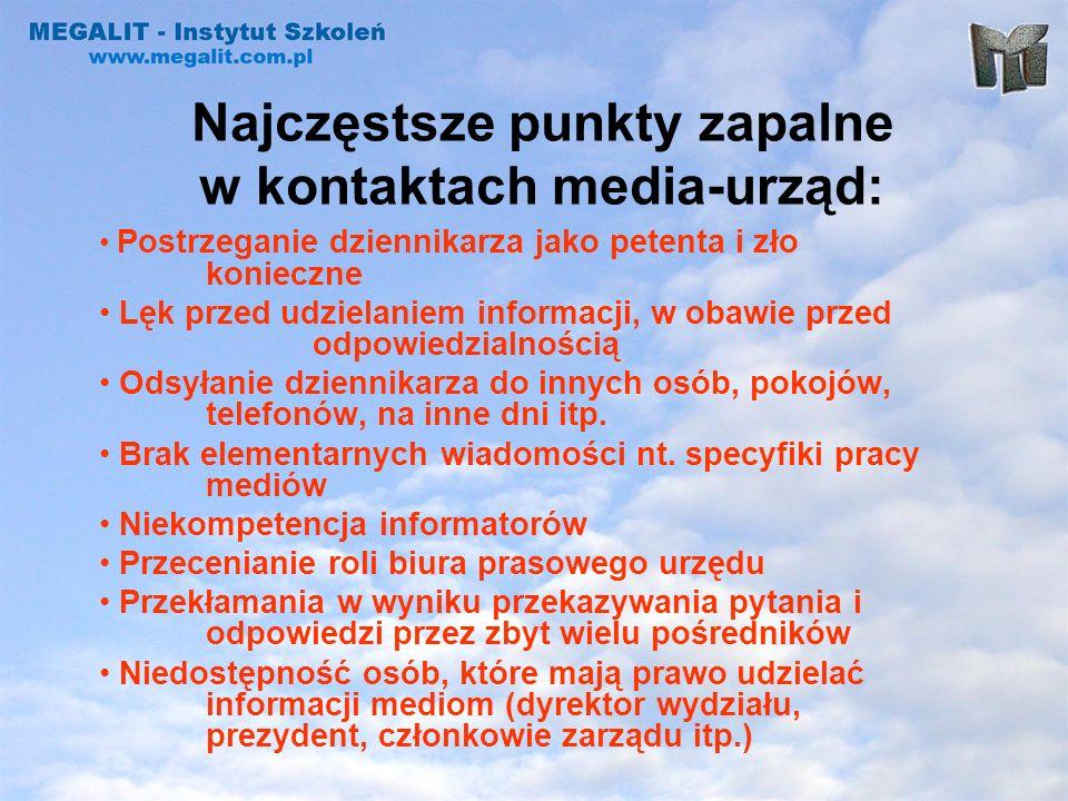 Najczęstsze punkty zapalne w kontaktach media-urząd: Postrzeganie dziennikarza jako petenta i zło konieczne Lęk przed udzielaniem informacji, w obawie