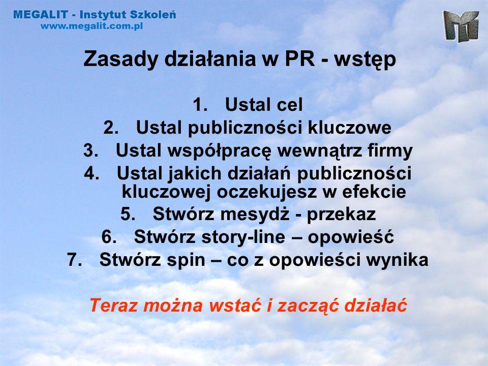 Zasady działania w PR - wstęp 1.Ustal cel 2.Ustal publiczności kluczowe 3.Ustal współpracę wewnątrz firmy 4.Ustal jakich działań publiczności kluczowe