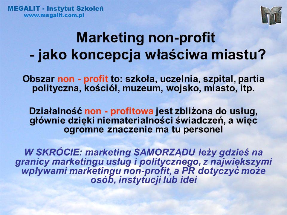 Marketing non-profit - odmienności złożoność i niejednoznaczność celów, duży nacisk społeczny, dualizm zarządzania administratorzy kontra artyści, niewyraźna struktura organizacyjna, trudność w pomiarze efektu, istnienie sfer ochronnych, brak precyzji w określeniu odbiorców działań, konflikt akceptacji: sponsorów i odbiorców.
