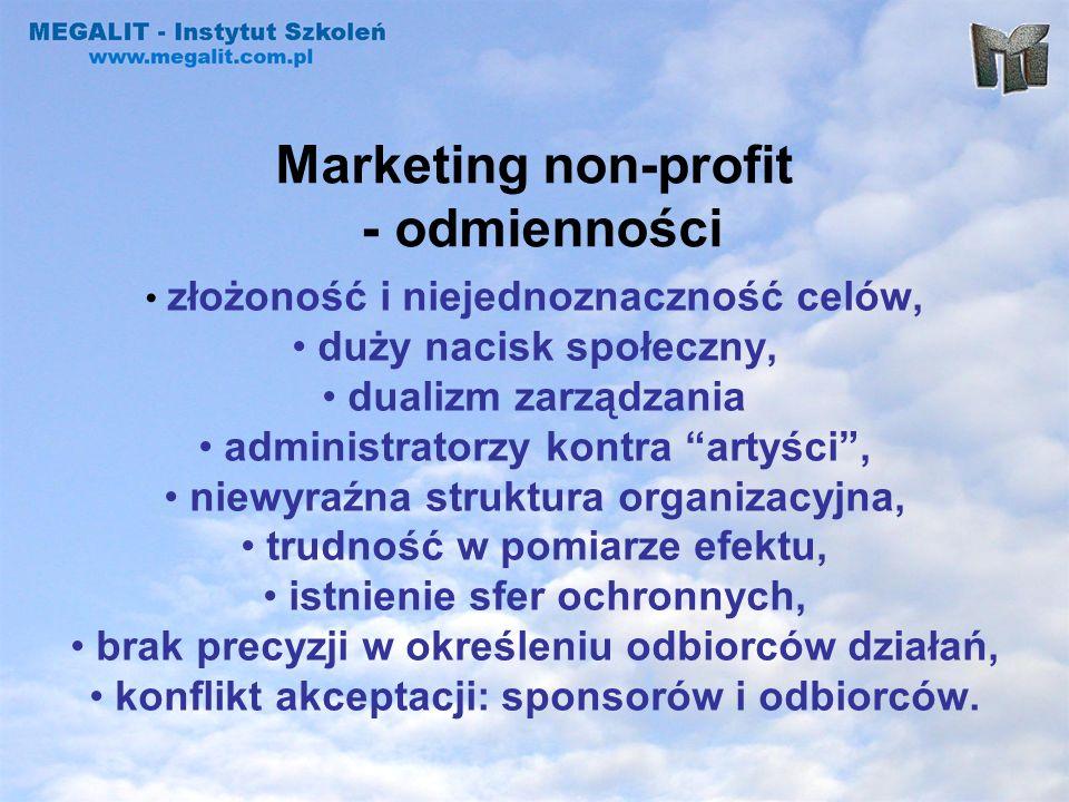 Marketing non-profit - odmienności złożoność i niejednoznaczność celów, duży nacisk społeczny, dualizm zarządzania administratorzy kontra artyści, nie
