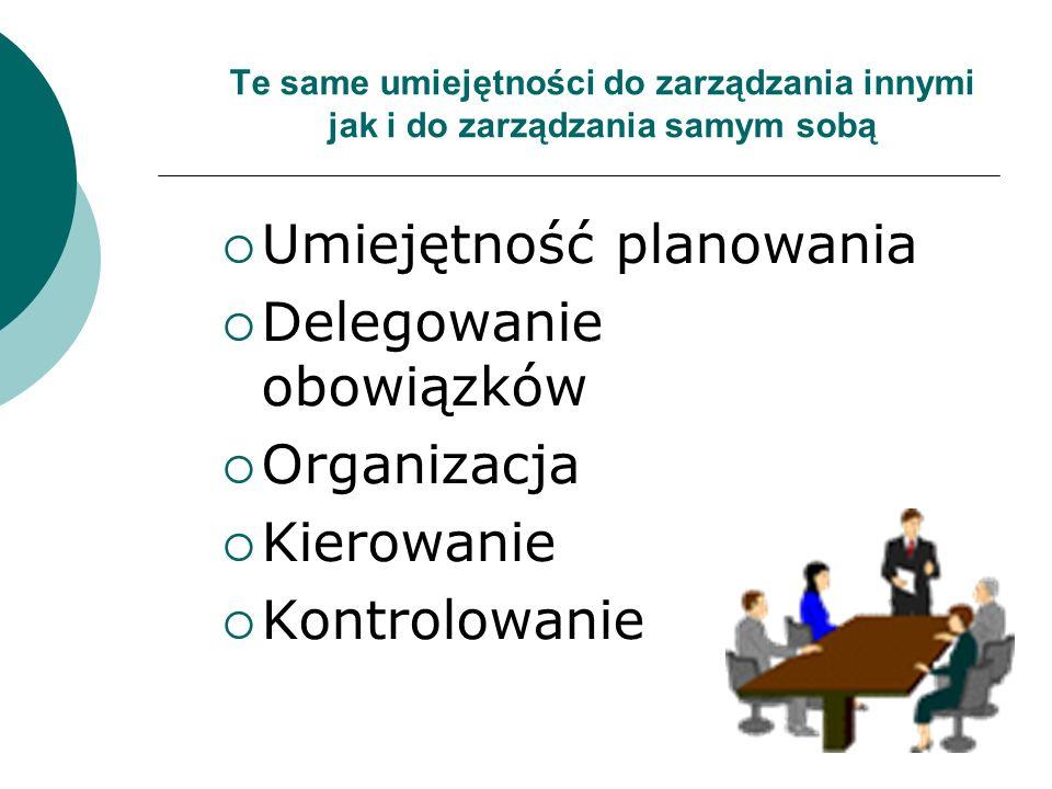 Te same umiejętności do zarządzania innymi jak i do zarządzania samym sobą Umiejętność planowania Delegowanie obowiązków Organizacja Kierowanie Kontrolowanie
