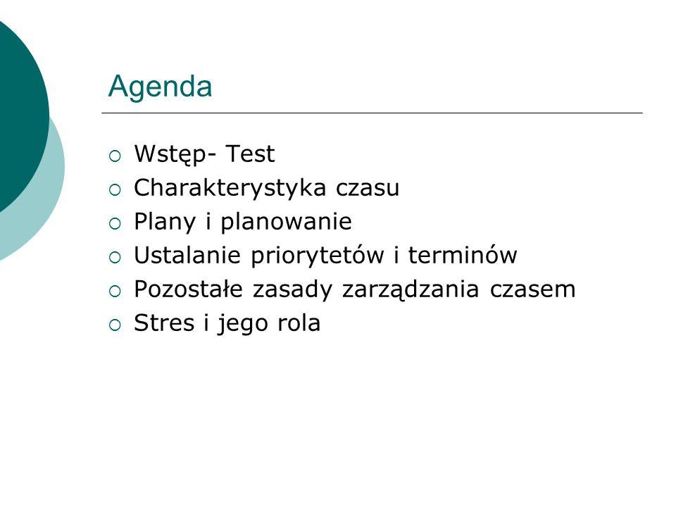 Agenda Wstęp- Test Charakterystyka czasu Plany i planowanie Ustalanie priorytetów i terminów Pozostałe zasady zarządzania czasem Stres i jego rola