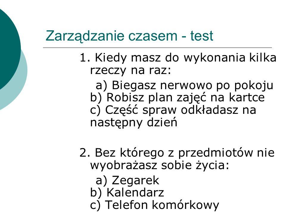 Zarządzanie czasem - test 1.