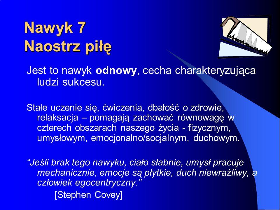 Nawyk 7 Naostrz piłę Jest to nawyk odnowy, cecha charakteryzująca ludzi sukcesu. Stałe uczenie się, ćwiczenia, dbałość o zdrowie, relaksacja – pomagaj