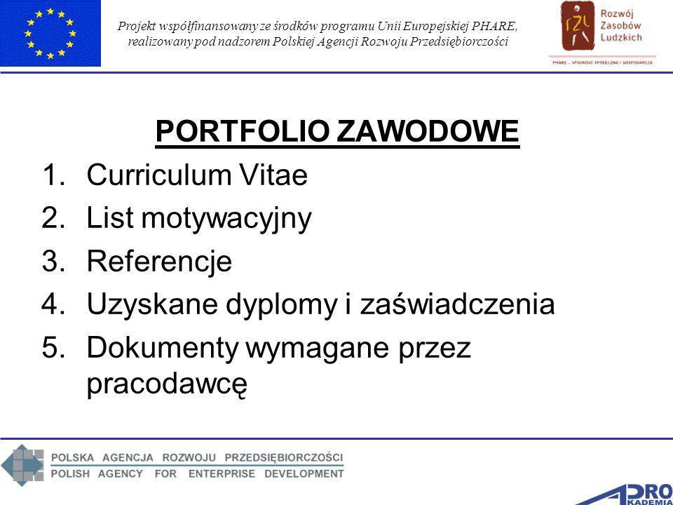 Projekt współfinansowany ze środków programu Unii Europejskiej PHARE, realizowany pod nadzorem Polskiej Agencji Rozwoju Przedsiębiorczości PORTFOLIO Z