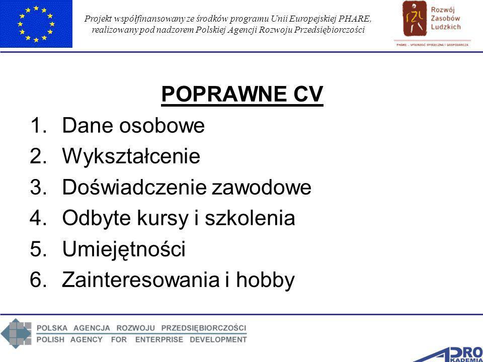 Projekt współfinansowany ze środków programu Unii Europejskiej PHARE, realizowany pod nadzorem Polskiej Agencji Rozwoju Przedsiębiorczości POPRAWNE CV
