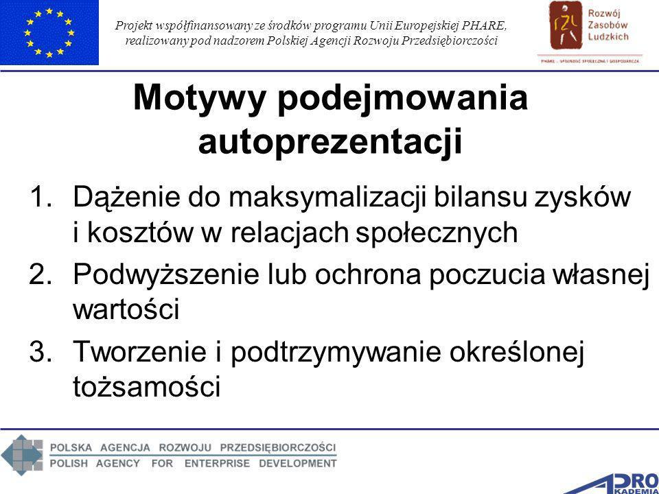 Projekt współfinansowany ze środków programu Unii Europejskiej PHARE, realizowany pod nadzorem Polskiej Agencji Rozwoju Przedsiębiorczości Motywy pode