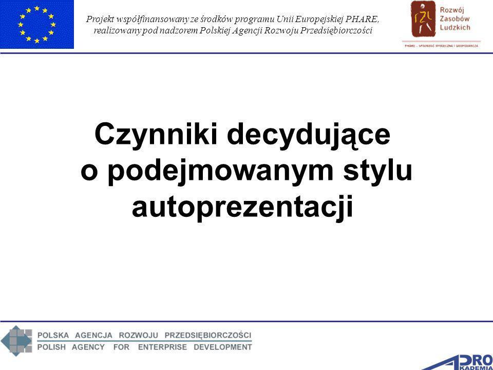 Projekt współfinansowany ze środków programu Unii Europejskiej PHARE, realizowany pod nadzorem Polskiej Agencji Rozwoju Przedsiębiorczości Czynniki de