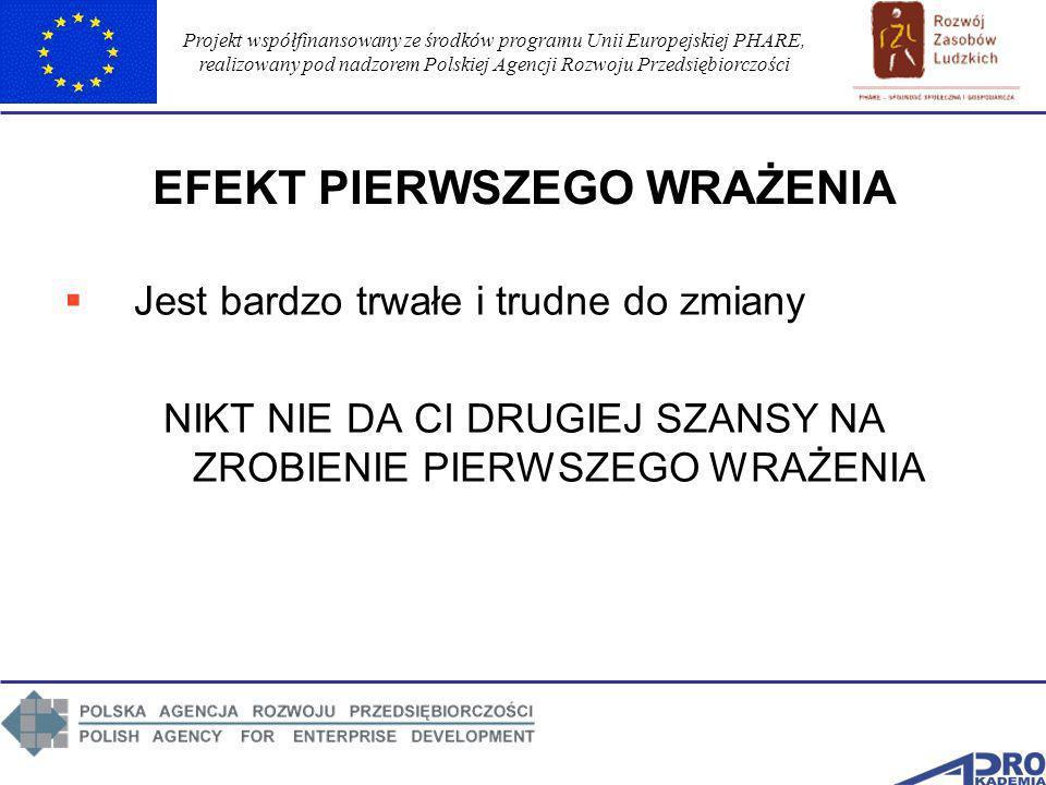 Projekt współfinansowany ze środków programu Unii Europejskiej PHARE, realizowany pod nadzorem Polskiej Agencji Rozwoju Przedsiębiorczości EFEKT PIERW