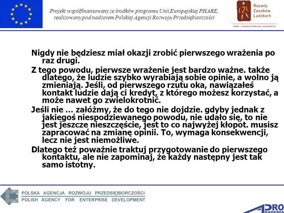Projekt współfinansowany ze środków programu Unii Europejskiej PHARE, realizowany pod nadzorem Polskiej Agencji Rozwoju Przedsiębiorczości Nigdy nie b