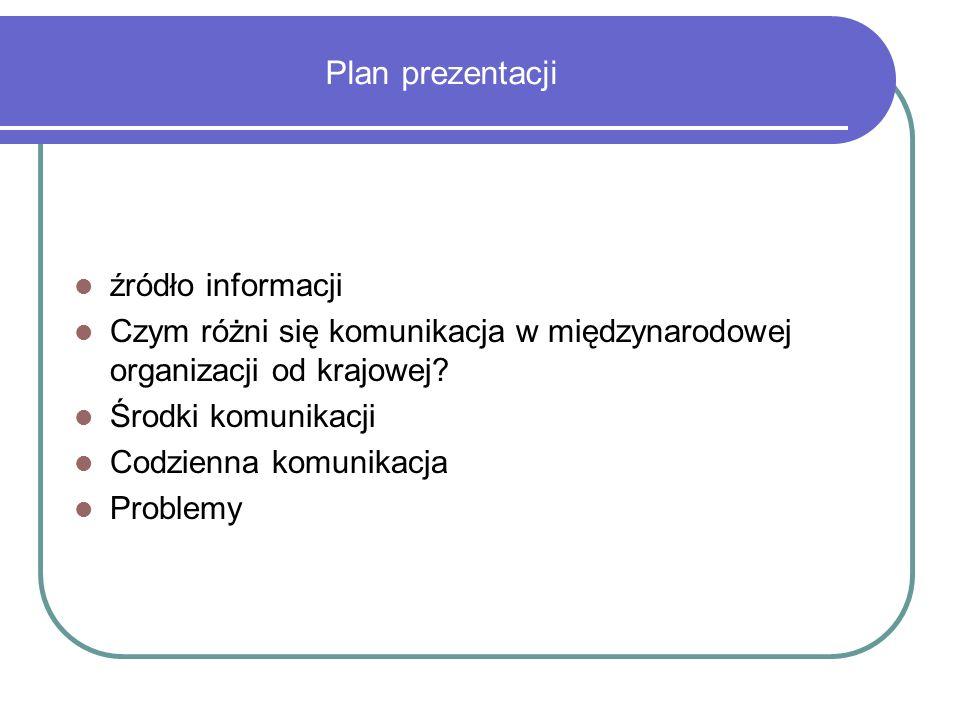 Plan prezentacji źródło informacji Czym różni się komunikacja w międzynarodowej organizacji od krajowej.