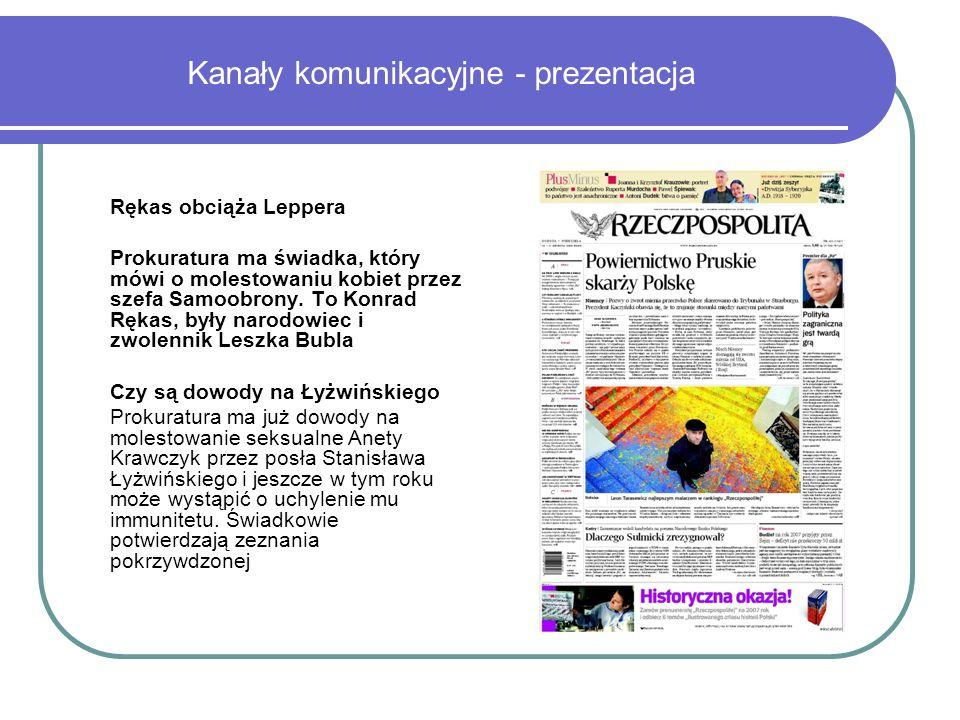 Kanały komunikacyjne - prezentacja Rękas obciąża Leppera Prokuratura ma świadka, który mówi o molestowaniu kobiet przez szefa Samoobrony.