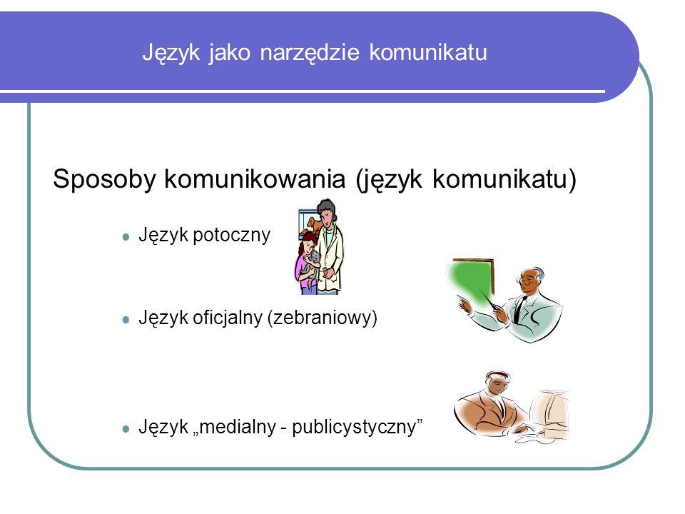 Język jako narzędzie komunikatu Sposoby komunikowania (język komunikatu) Język potoczny Język oficjalny (zebraniowy) Język medialny - publicystyczny