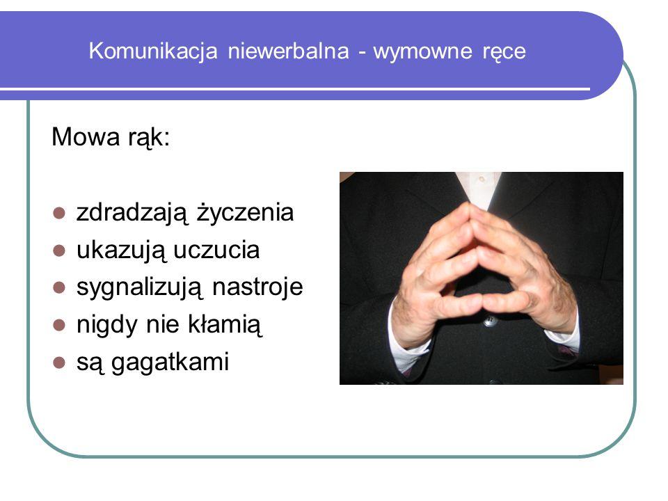 Komunikacja niewerbalna - wymowne ręce Mowa rąk: zdradzają życzenia ukazują uczucia sygnalizują nastroje nigdy nie kłamią są gagatkami