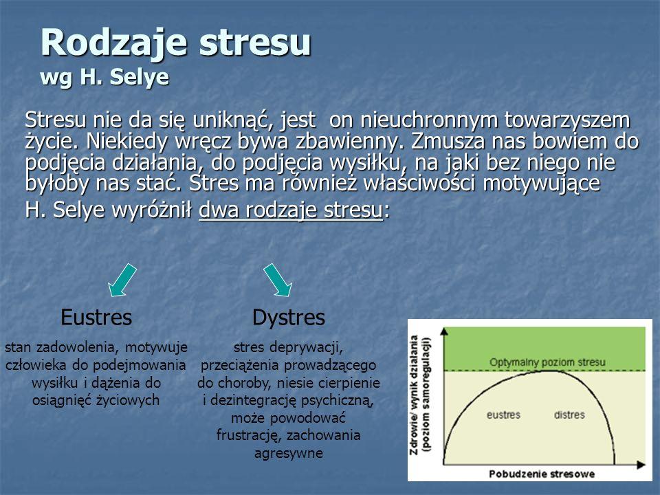 Rodzaje stresu wg H. Selye Stresu nie da się uniknąć, jest on nieuchronnym towarzyszem życie. Niekiedy wręcz bywa zbawienny. Zmusza nas bowiem do podj