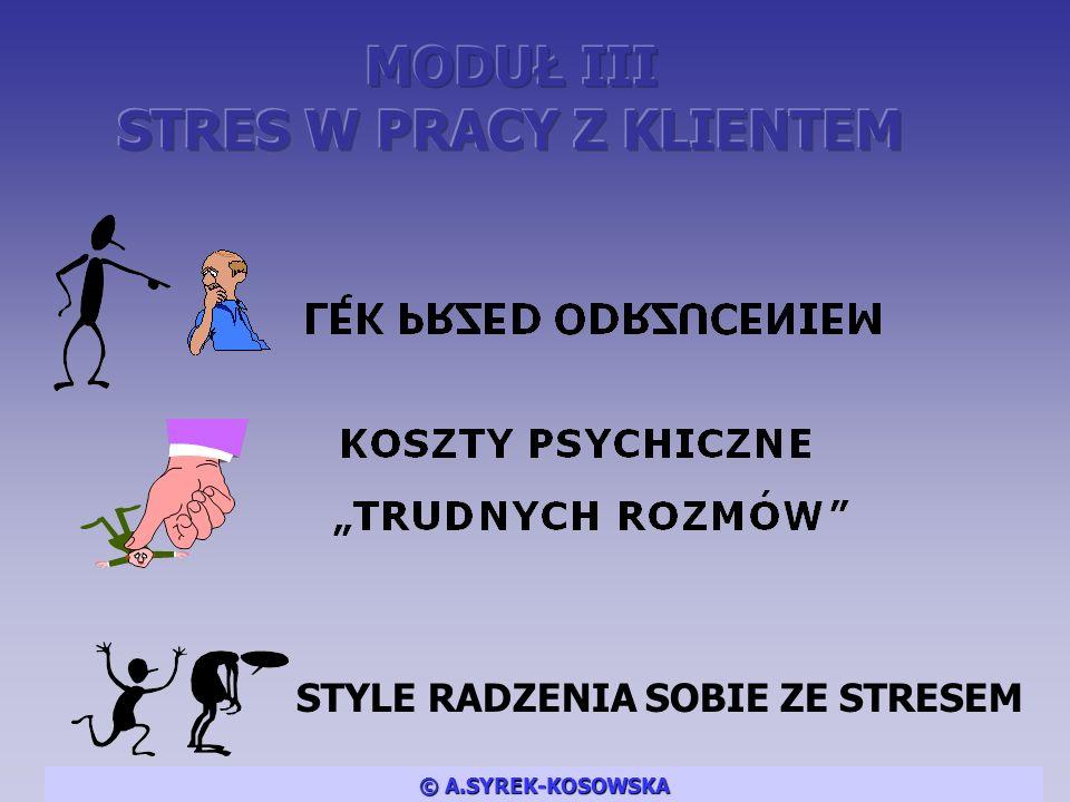 STYLE RADZENIA SOBIE ZE STRESEM © A.SYREK-KOSOWSKA