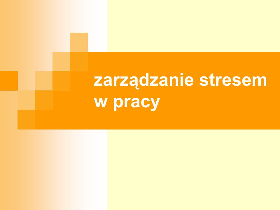 BHP 17.09.2005r.12 zarządzanie stresem w pracy Stres występuje wówczas, gdy nie ma równowagi między tym, co ludzie myślą, że są zdolni osiągnąć, a tym czego się od niż żąda.