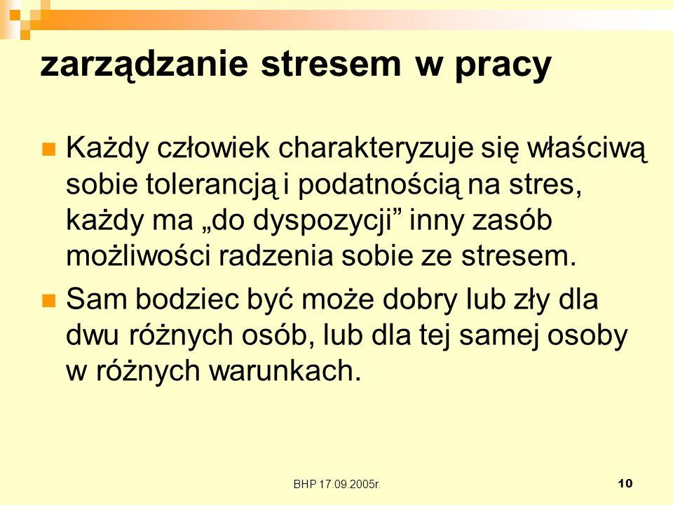 BHP 17.09.2005r.10 zarządzanie stresem w pracy Każdy człowiek charakteryzuje się właściwą sobie tolerancją i podatnością na stres, każdy ma do dyspozy