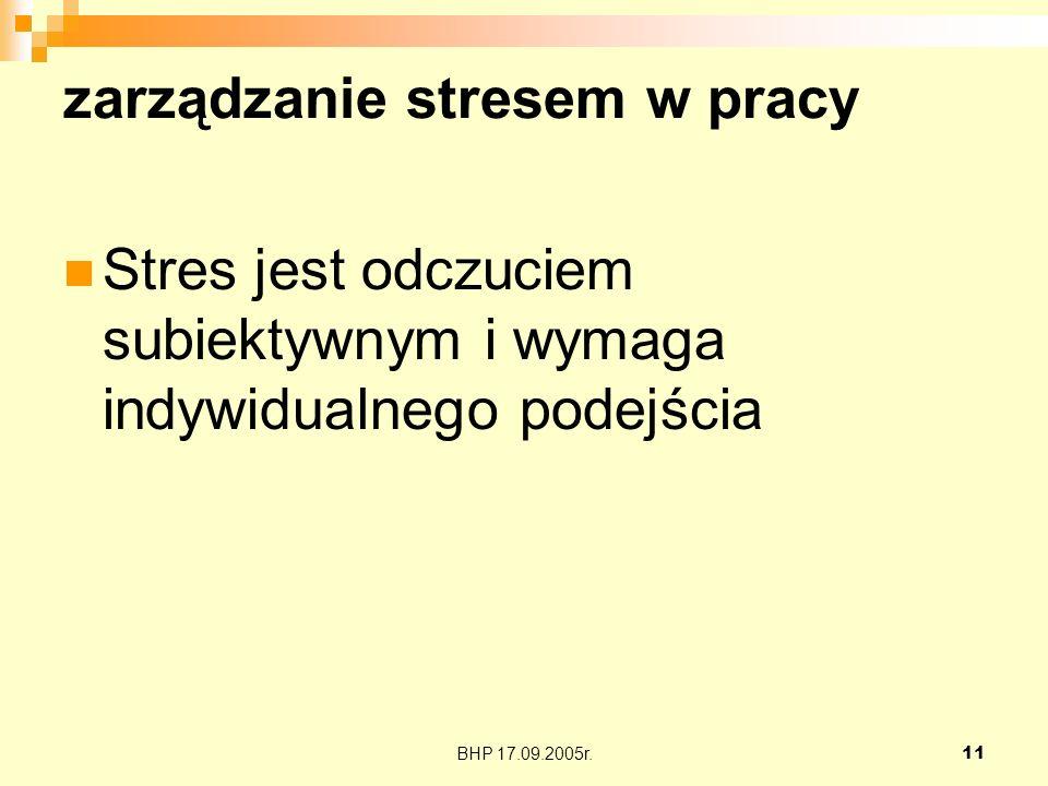 BHP 17.09.2005r.11 zarządzanie stresem w pracy Stres jest odczuciem subiektywnym i wymaga indywidualnego podejścia